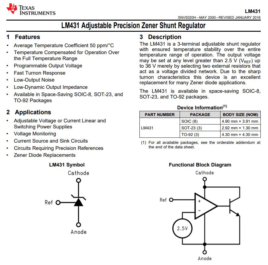 LM431CIM3X/NOPB   electronic part suppliers