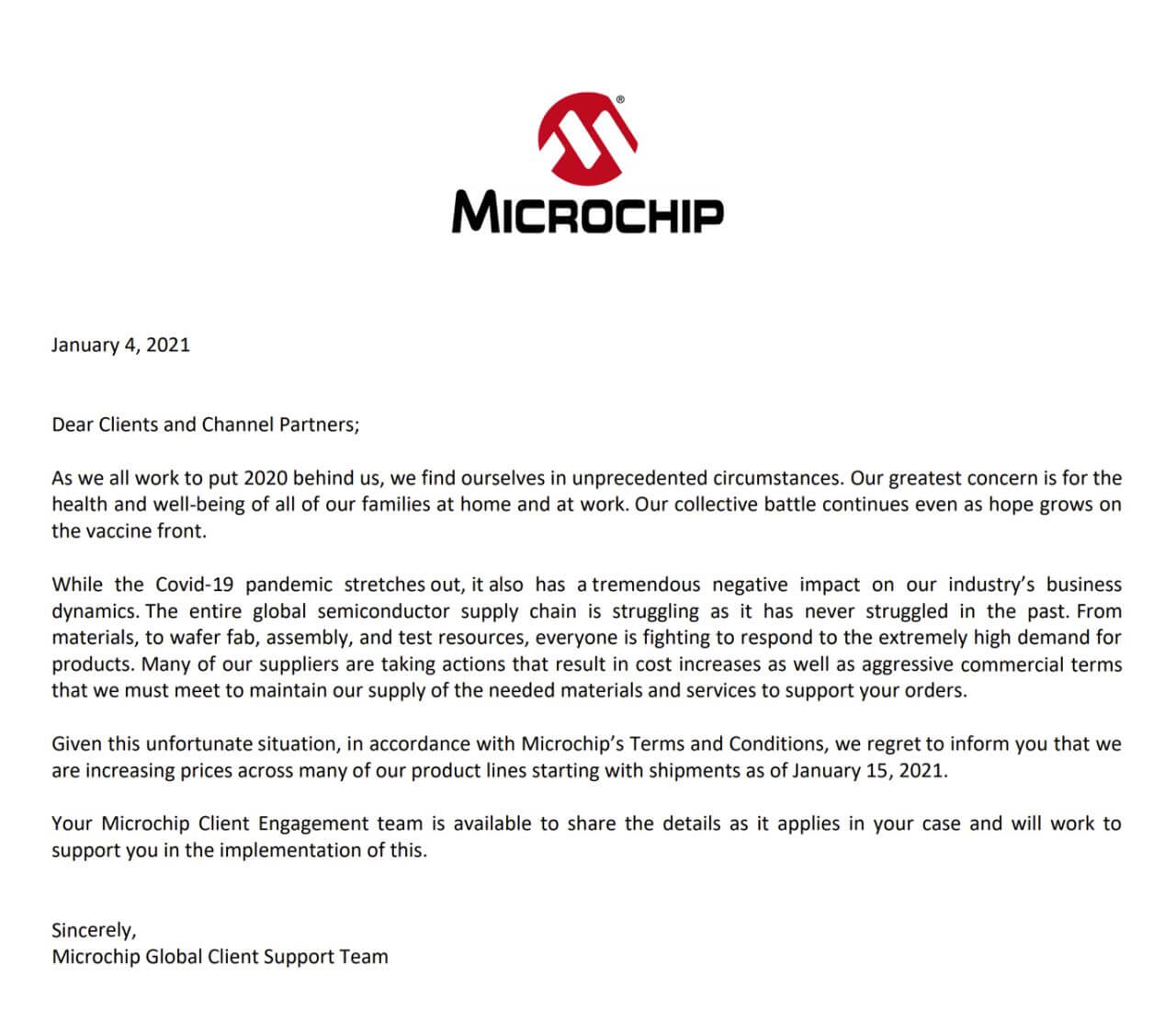 Microchip Price Increases